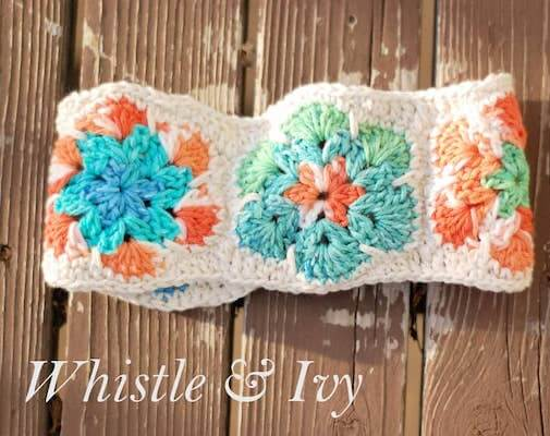 African Flower Headwarmer Crochet Pattern by Whistle And Ivy