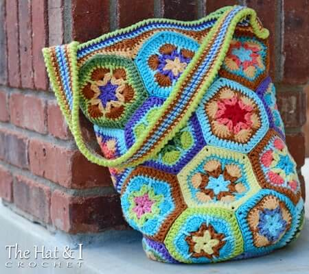 Crochet African Flower Tote Bag Pattern by The Hat And I
