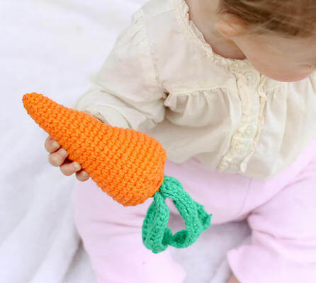 Carrot Baby Toy Crochet Pattern by Make And Do Crew