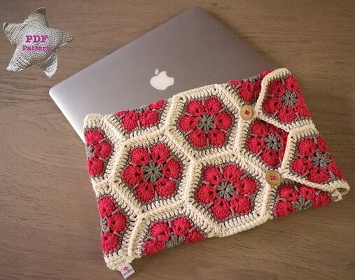 Crochet African Flower Laptop Cover Pattern by Dimfies