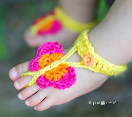 Crochet Butterfly Barefoot Sandals Pattern by Repeat Crafter Me