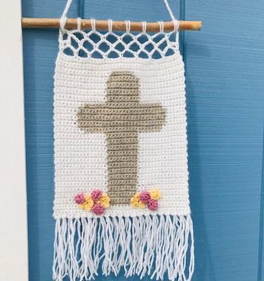 Wall Hanging Cross Crochet Pattern by Desert Blossom Crafts