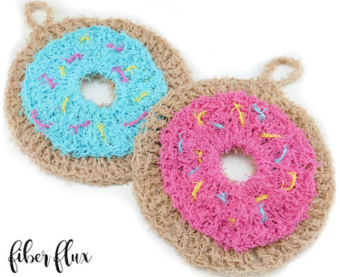 Crochet Donut Scrubby Pattern by Fiber Flux