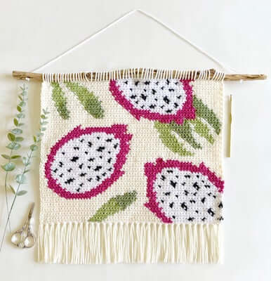 Crochet Dragon Fruit Wall Hanging Pattern by Love And Stitch Designs