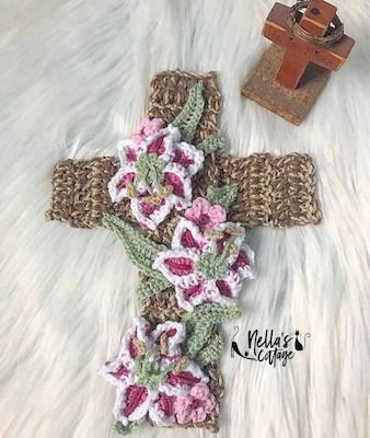 7. Crochet Easter Cross Applique Pattern by Nella's Cottage
