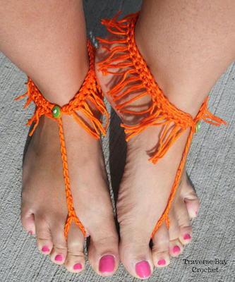 Crochet Fringe Barefoot Sandals Pattern by Traverse Bay Crochet