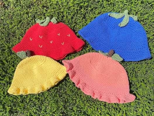 Crochet Fruit Bucket Hat Pattern by Punk Crochetier