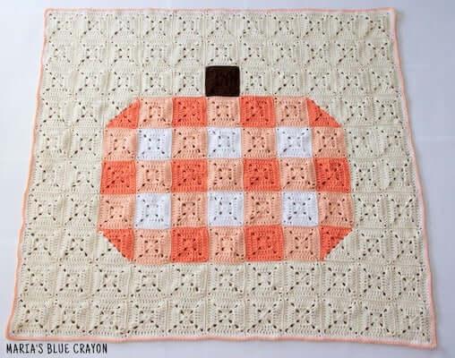 13. Crochet Gingham Pumpkin Blanket Pattern by Maria's Blue Crayon