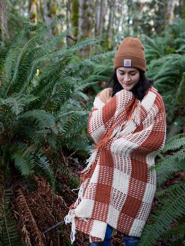 Crochet Gingham Throw Blanket Pattern by Delia Creates