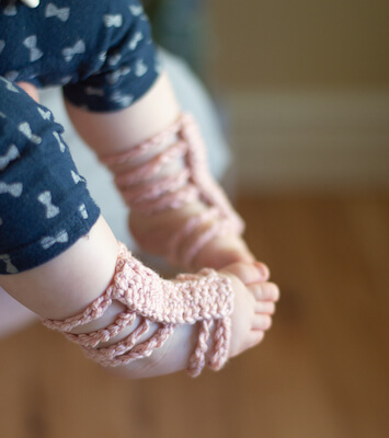 Crochet Gladiator Barefoot Sandals Pattern by Whistle And Ivy