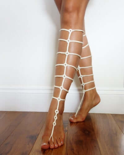 Crochet Gladiator Strap Barefoot Sandals Pattern by Camexia Crochet