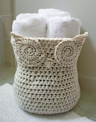 1. Crochet Owl Basket Pattern by Knit And Crochet Ever After