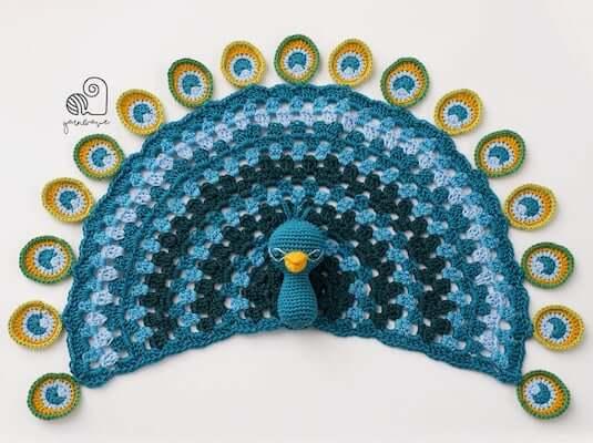 Crochet Peacock Lovey Pattern by Yarn Wave Shop