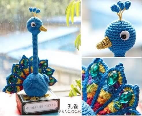 Crochet Peacock Pen Holder Amigurumi Pattern by Crochet & Knitting