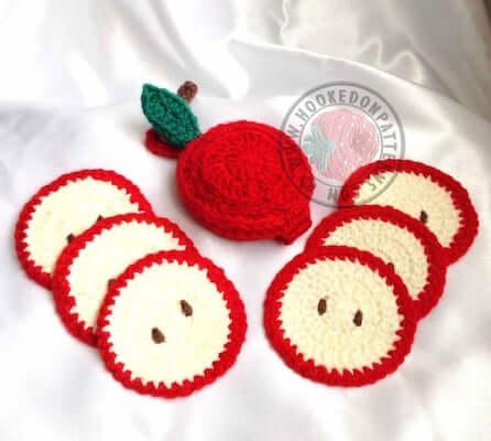 Crochet Sliced Apple Coaster Pattern by Hookedo Patterns