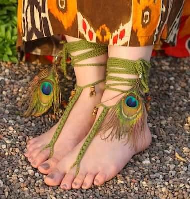 Crochet Tribal Barefoot Sandals Pattern by Yarnutopia