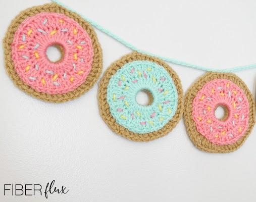 Festive Donut Garland Crochet Pattern by Fiber Flux