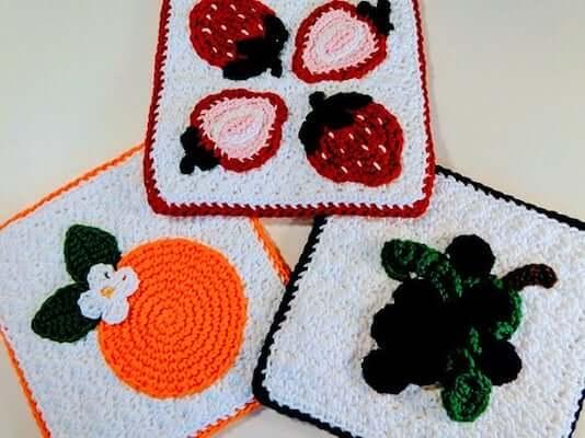 Fruit Potholder Crochet Pattern by All My Styles