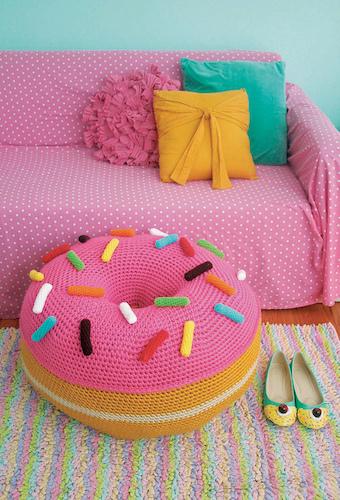 Giant Floor Pouf Crochet Donut Free Pattern by Twinkie Chan
