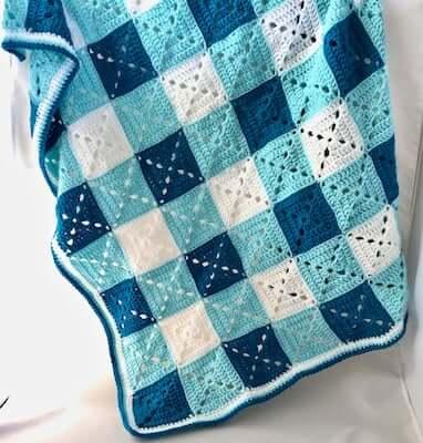 Granny Baby Blanket Gingham Crochet Pattern by Madame Stitch Crochet