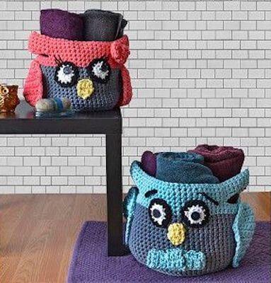 Hooty Crochet Owl Basket Free Pattern by Premier Yarns