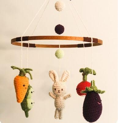 Little Veggie Baby Mobile Crochet Pattern by Kendra Kat