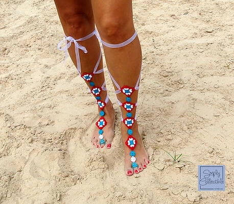 Not Granny's Gladiator Barefoot Sandals Crochet Pattern by Simply Collectible Crochet