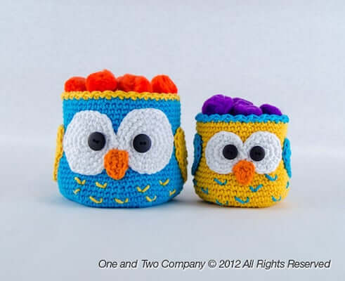 Owl Basket Crochet Pattern by One And Two Company