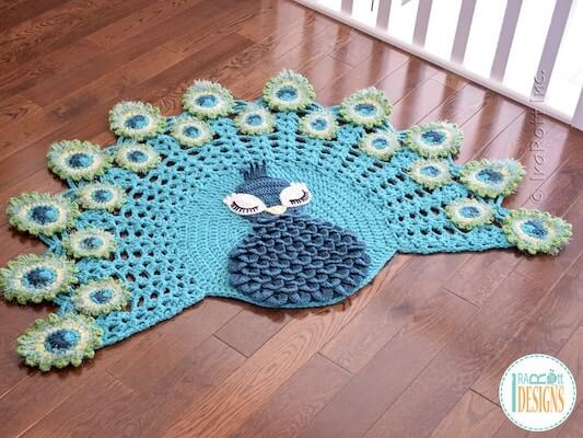 Pavo, The Peacock Rug Crochet Pattern by Ira Rott Patterns