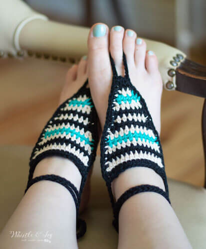 Serape Crochet Barefoot Sandals Pattern by Whistle And Ivy