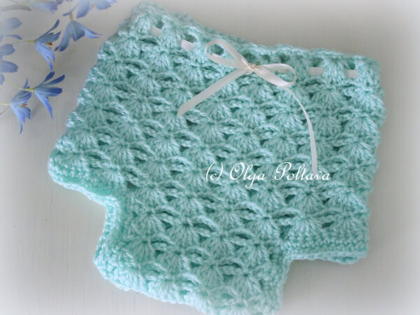 Easy Shells and Chains Diaper Cover Crochet Pattern by Olgapoltava