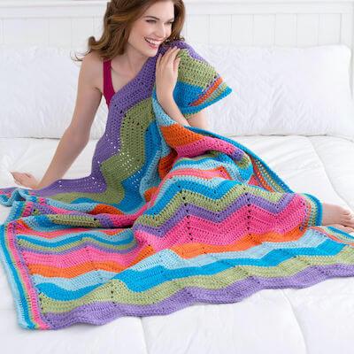 Bright Throw Ripple Blanket Crochet Pattern by Yarnspirations