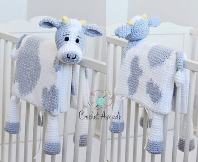 Cow Baby Blanket Crochet Pattern by Crochet Arcade