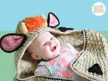 Cow Hooded Blanket Crochet Pattern by Ira Rott Patterns