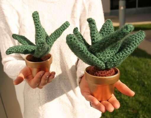 Crochet Aloe Vera Plant Pattern by Pocketful Of Yarn