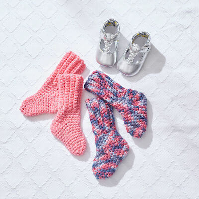 Crochet Baby Socks Free Pattern by Yarnspirations
