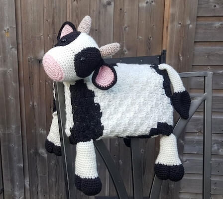 Folding Cow Blanket Crochet Pattern by Crafting Happiness UK