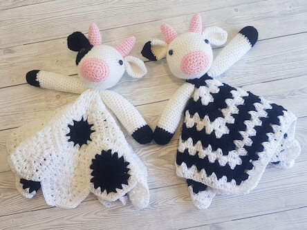 Crochet Cow Lovey Blanket Pattern by Crafting Happiness UK
