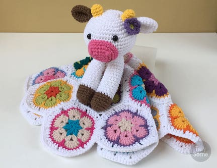 Crochet Cow Lovey Blanket Pattern by Tilly Some