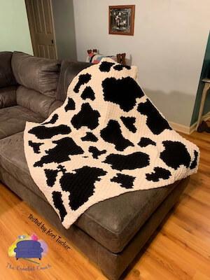 Crochet Cow Print Blanket Pattern by Crochet Couch