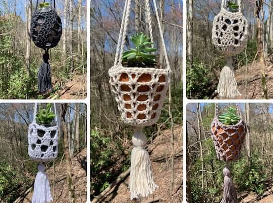 Crochet Hanging Planter With Tassels Pattern