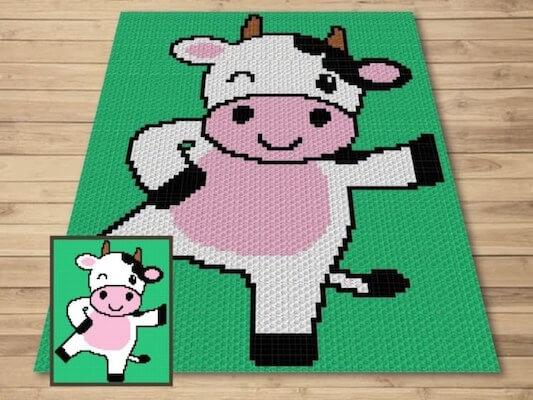 Crochet Happy Cow Blanket Pattern by Magic Yarn Pixels