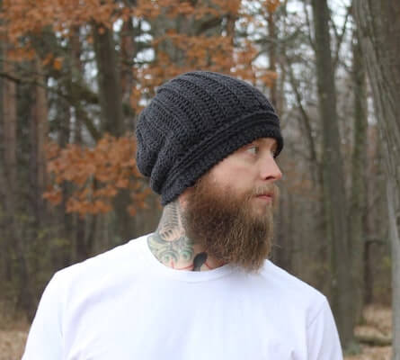 Slouchy Crochet Mens Hat Pattern by The Madame Hatter