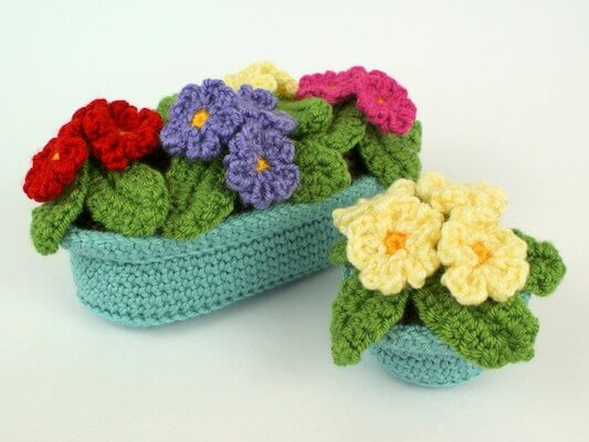 Crochet Primrose Potted Plant Pattern by Planet June
