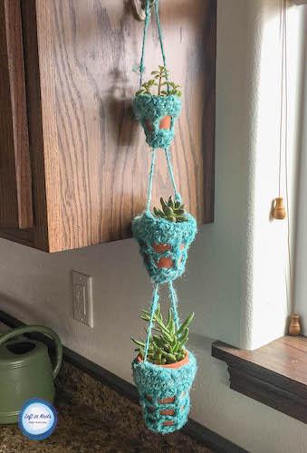 Crochet Succulent Hanger Free Pattern by Left In Knots