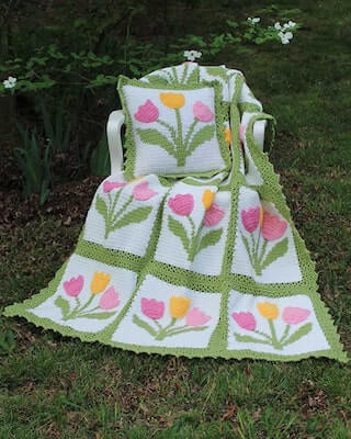 Crochet Tulip Afghan And Pillow Set Pattern by Maggie's Crochet