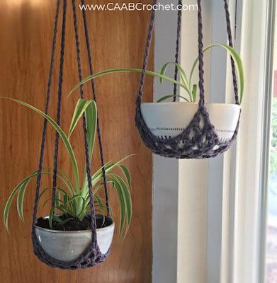 Easy Hanging Plant Basket Crochet Pattern by Caab Crochet