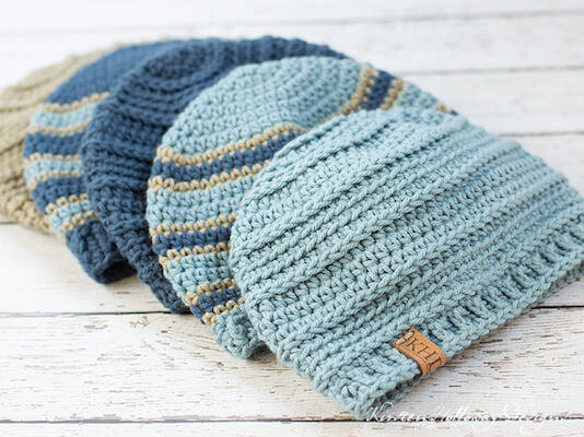 Striped Beanie For Men And Boys Crochet Pattern by Kirsten Holloway Designs