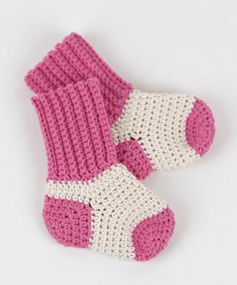 Crochet Baby Socks Free Pattern by Croby Patterns