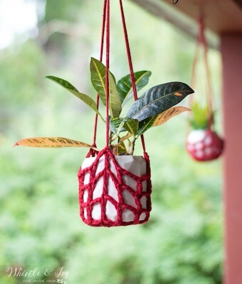 Free Crochet Plant Hanger Pattern by Whistle And Ivy